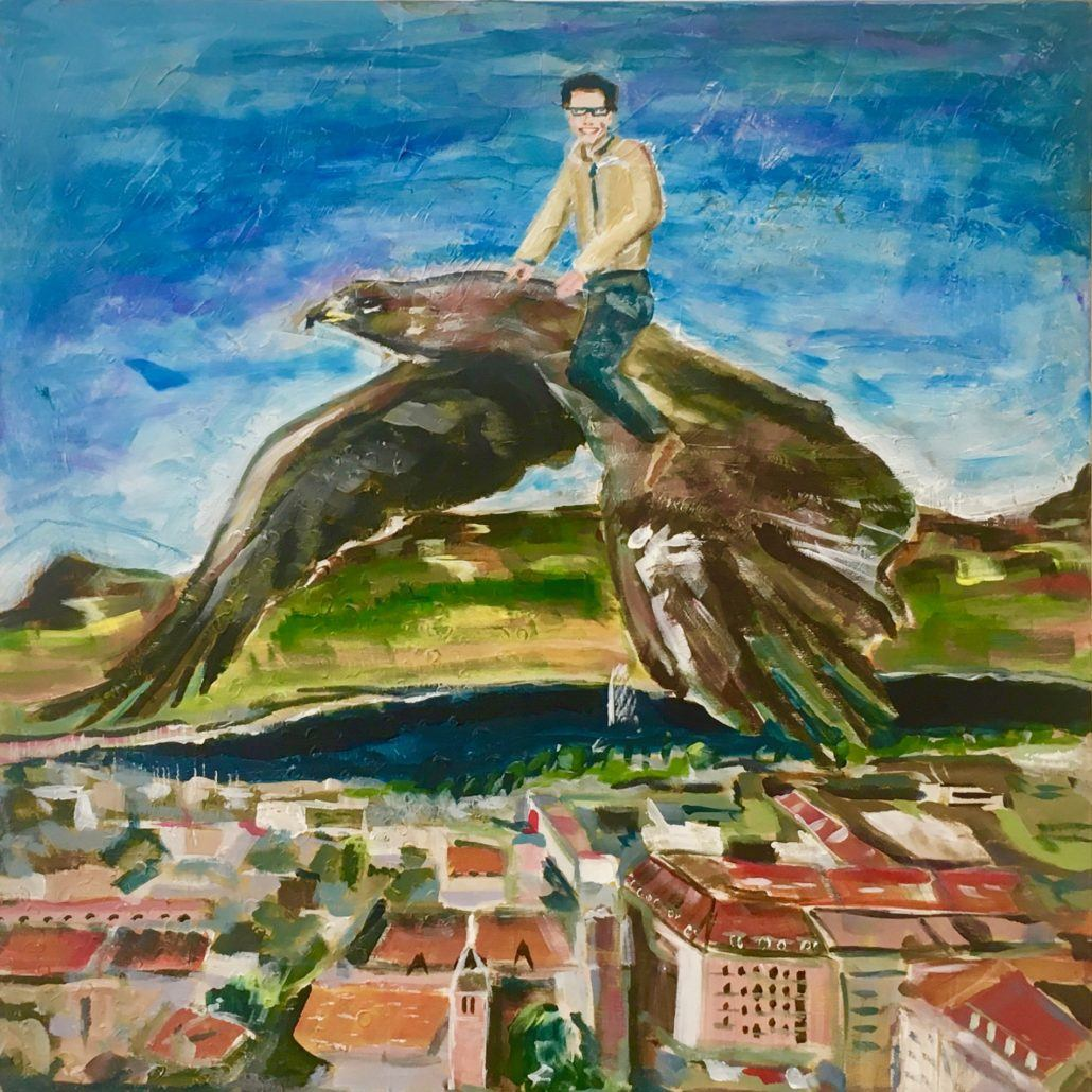 painting man on eagle above city and with mountains and lake in the background